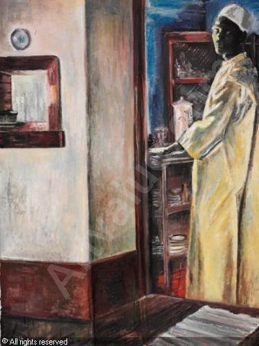 """Kokken i kjøkkenet - Joronn Sitje 1934 - """"Kokken Kinyangoru styrer eneveldig og er en merkelig fyr. Hvor han har lært alt det vet ikke jeg, - men han laver brød og kaker og ser ut som han er trukket opp av en skuff, så ren og nystrøken alltid."""""""
