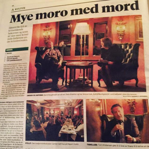 """""""MYE MORO MED MORD: Fylkesavisa Varden var til stede på krimfestivalen. (Varden 18. november 2016)."""